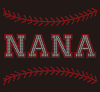 (9.5x7.8) Baseball Nana (Stitches on top and bottom) custom Rhinestone Transfer