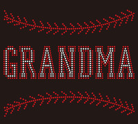 (9.5x7.8) Baseball Grandma (Stitches on top and bottom) custom Rhinestone Transfer