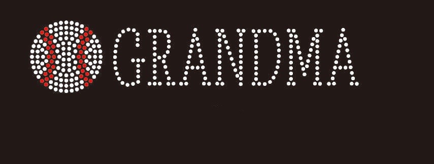 "Hotfix Rhinestone Transfer /"" Baseball Grandma /"" Iron On Bling Nana"