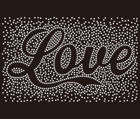 Love in cursive (text) spray Rhinestone Transfer