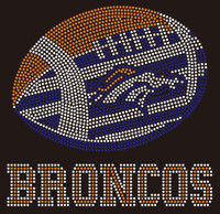 Broncos Football horse inside football custom Rhinestone Transfer