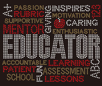 Educator words (Topaz) Rhinestone Transfer