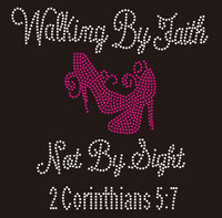 Walking by Faith Not By Sight (Fuchsia) Heels Stiletto Rhinestone Transfer