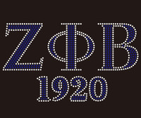 Zeta Phi Beta 1920 custom Rhinestone Transfer