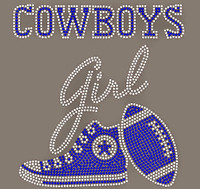 Cowboys girl Tennis shoes Football custom Rhinestone Transfer