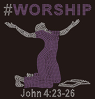 #WORSHIP Lady with bible custom Rhinestone Transfer