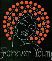 Forever Young Afro Lady Girl 133 (Orange) Rhinestone Transfer