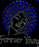 Forever Young Afro Lady Girl 13mm (Cobalt) Rhinestone Transfer