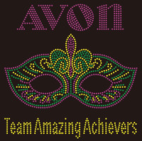 AVON Mask Team Amazing Achievers - custom Rhinestone Transfer