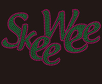 (deposit for 25 Qty @9.99/pc) Skee Wee - custom Rhinestone Transfer