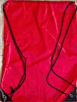 "Drawstring Nylon Tote Bag 16""W x 15""H x 2.5""D (Red)"