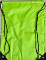 "Drawstring Nylon Tote Bag 16""W x 15""H x 2.5""D (Neon Green)"