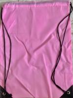 "Drawstring Nylon Tote Bag 16""W x 15""H x 2.5""D (Pink)"