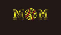 (Small 4.5x1.6) Softball Mom (Ball in middle) McCabe Rhinestone Transfer