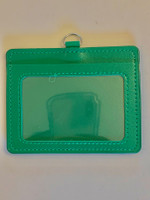 ID Card Name Tag Badge Holder PU leather (horizontal) (Green)