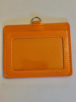 ID Card Name Tag Badge Holder PU leather (Horizontal) (Orange)