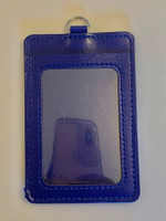 ID Card Name Tag Badge Holder PU leather (Vertical) (Navy Blue)