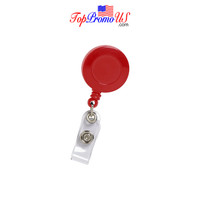 Retractable ID Badge Reel Holder (Red)