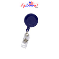 Retractable ID Badge Reel Holder (Navy Blue)