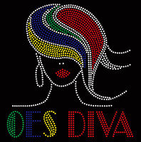 OES  Diva straight hair girl - Custom Rhinestone transfer