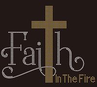 Cross Faith in the Fire - Religious Rhinestone transfer