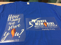 (Front and Back 2 transfers) How May We Serve You Flame - vinyl transfer