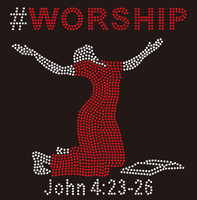 (Red) #WORSHIP Lady with bible Rhinestone Transfer