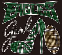 Eagles girl Heel Football Rhinestone Transfer