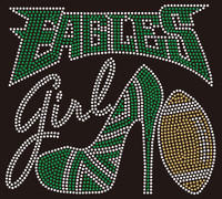 Eagles girl Heel Football Rhinestone Transfer