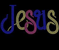 Jesus in Color Custom Rhinestone transfer