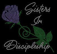(100 Qty) Sisters In Discipleship flower Stem Rhinestone Transfer