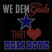 (10 Qty) We DEM Girls Blue Star that Love DEM Boys Rhinestone Transfer