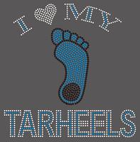 (10 Qty) I Love Tar Heel custom Rhinestone Transfer