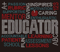 Educator Words (Teal) Rhinestone Transfer
