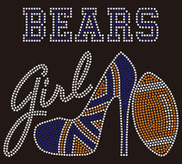 Bears girl heel football Rhinestone Transfer