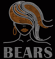 Bears straight hair girl football Rhinestone Transfer