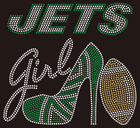 Jets girl heel custom Rhinestone transfer