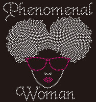 Phenomenal Woman  (FUCHIA GLASS) Puff hair girl Rhinestone transfer
