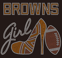 Cleveland Browns girl heel football Rhinestone Transfer