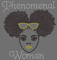 Phenomenal Woman Yellow Glass Puff hair girl Rhinestone transfer