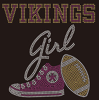 Vikings girl Tennis shoe Sneaker Football Rhinestone Transfer