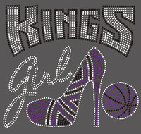 Kings girl Heel Basketball Rhinestone Transfer