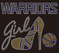 Warriors girl Heel Basketball Rhinestone Transfer