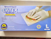 100 Latex Gloves (Large) Smooth Touch Disposable Powder Free Sunset (Approved for Food handling)