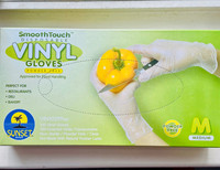 100 Vinyl Gloves (Medium) Smooth Touch Disposable Powder Free Sunset (Approved for Food handling)