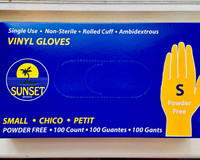 100 Vinyl Gloves (Small) Disposable Powder Free single use Sunset