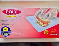 100 Poly Gloves (Medium) Disposable Powder Free Sunset