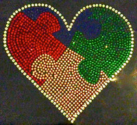 "Autism Heart Rainbow Rhinestone (7.5""x6.5"") Transfer Iron On"