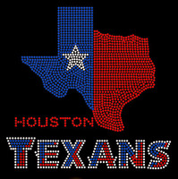 Texas Map with Houston Texans text Rhinestone Transfer