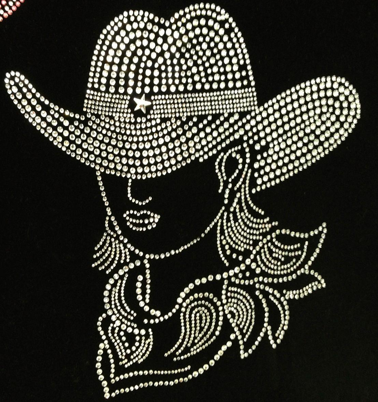 fee66f51328e2 CowGirl with Hat Clear Rhinestone Transfer (Western) - Texas Rhinestone